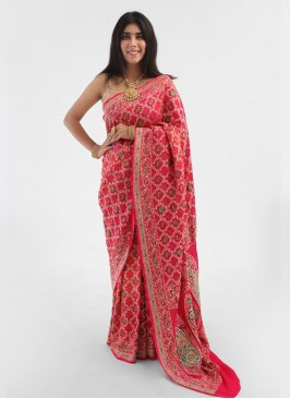 Weaving Work Bandhani Sare