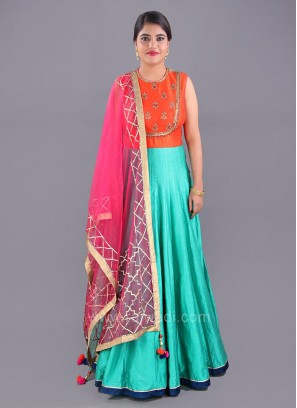 Wedding Anarkali Dress with Contrast Dupatta