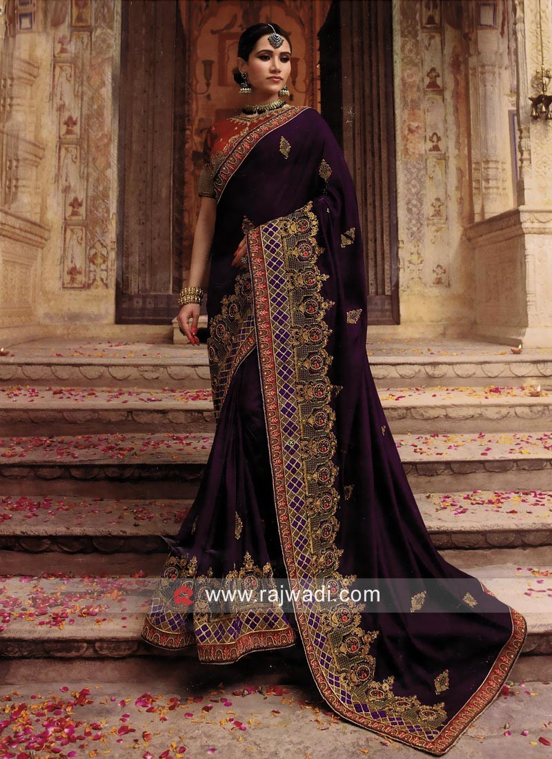 d03bfd2e65 Wedding Art Silk Heavy Work Saree. Hover to zoom