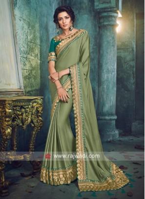 Wedding Art Silk Sari in Olive
