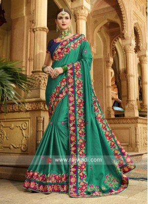 Wedding Art Silk Sari with Designer Border