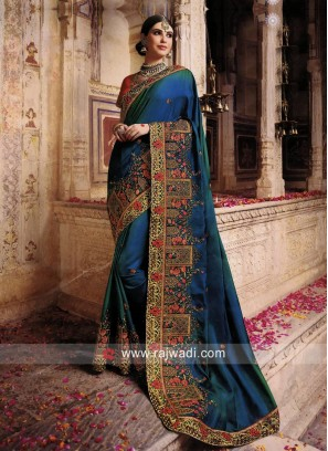 Wedding Art Silk sari with Embroidered Heavy Border
