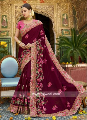 Wedding Art Silk Sari with Raw Silk Blouse
