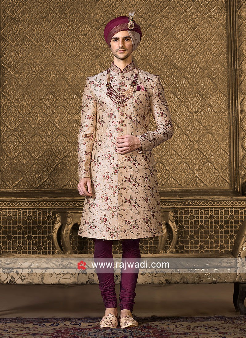 Wedding Art Silk Sherwani