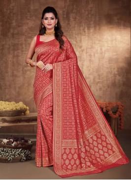 Wedding Banarasi Silk Saree In Red