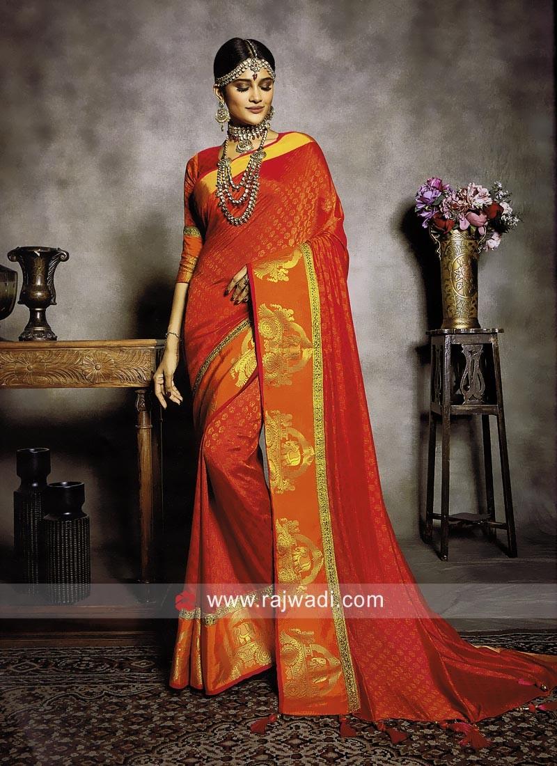 Banarasi Silk Sari with Animal Motifs Border