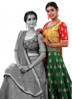 Wedding Butta Work Lehenga with Embroidered Choli and Dupatta