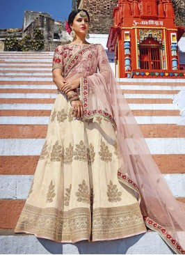 Wedding Cream Peach Embroidered Lehenga Choli