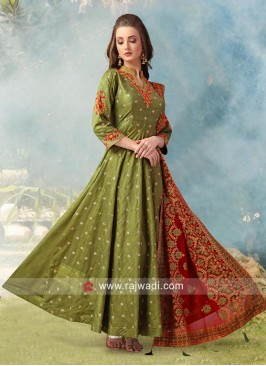 Wedding Embroidered Anarkali Suit in Olive Green