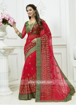 Wedding Embroidered Red Saree