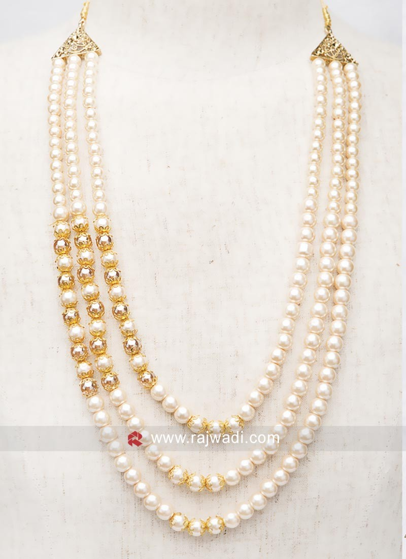 Wedding Three Line Pearl Mala