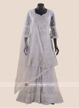 Wedding Gharara Salwar Kameez in Grey