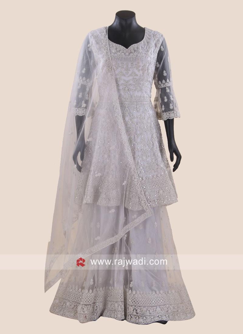 Wedding Gharara Salwar Kameez in Grey
