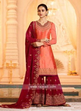 Wedding Gharara Suit in Dark Peach