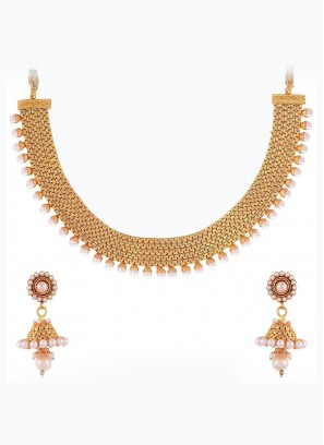 Wedding Golden Choker Set with Earrings
