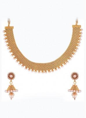 Wedding Golden Choker Set with Earrings
