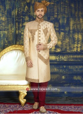 Wedding Golden Color Sherwani With Patch Work