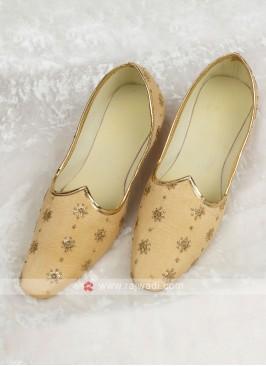 Wedding Golden Color Silk Mojari
