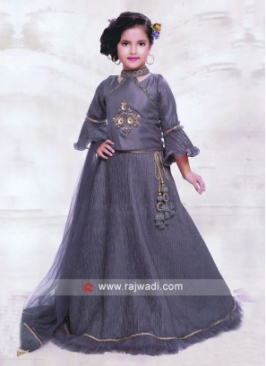 Wedding Grey Choli Suit