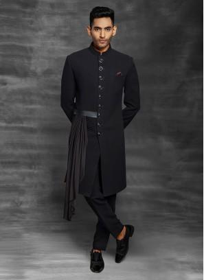 Wedding Wear Indo-Western In Black Color