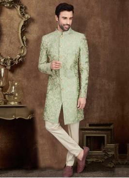 Wedding Indo-Western In Pista Green Color