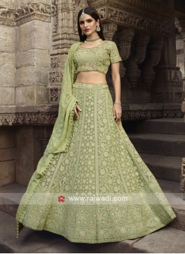 Wedding Lehenga Choli in Pista Green