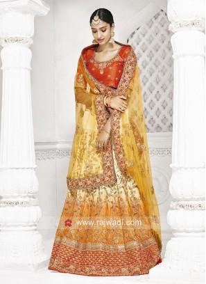 Wedding Lehenga Saree with Embroidery Work