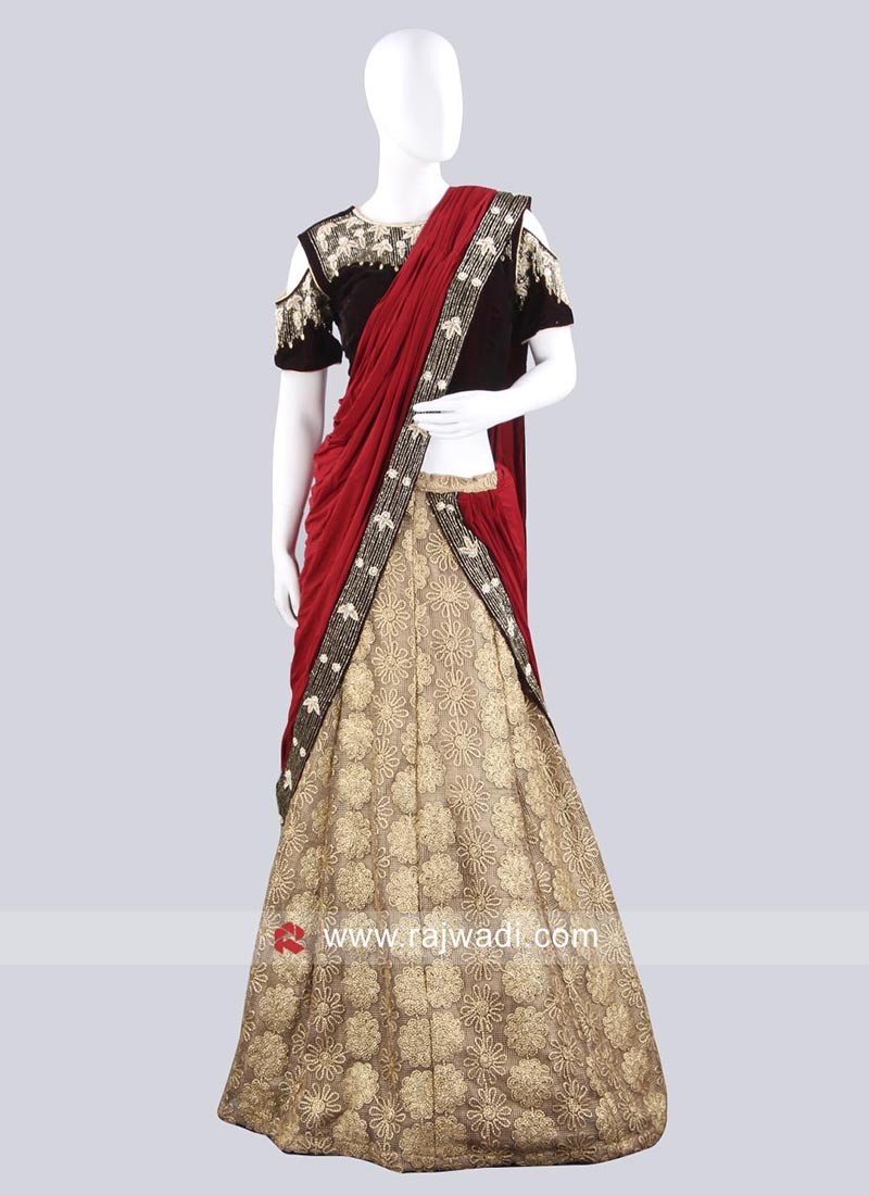 Wedding Lehenga Saree with Lace Border
