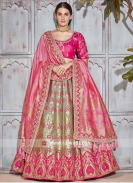 Wedding Lehenga Set in Golden Cream and Pink