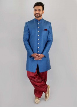 Wedding Long Sleeve Plain Indo Western in Blue