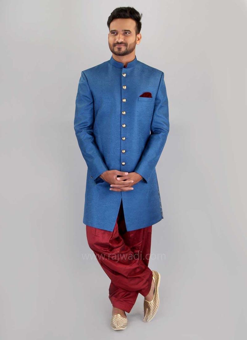 Wedding Long Sleeve Plain Indo Western in Blue