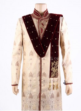 Wedding Maroon Groom Dupatta