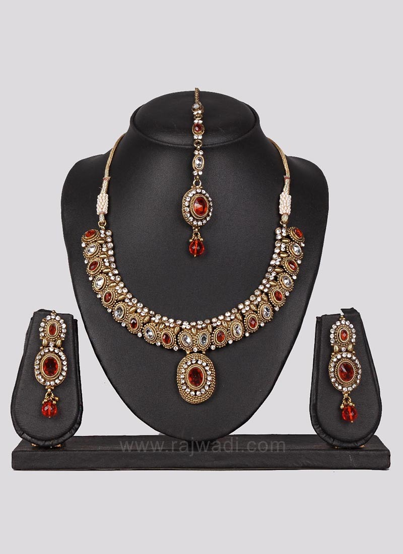 Wedding Necklace Set with Colorful Stones