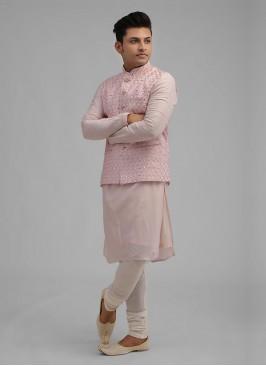 Wedding Nehru Jacket Suit In Pink