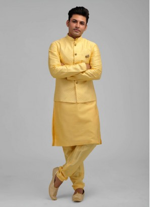 Wedding Nehru Jacket Suit In Yellow