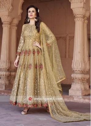 Wedding Net Anarkali Suit in Golden Cream