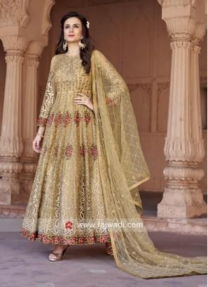 Wedding Net Anarkali Suit in Golden Cream