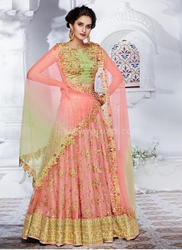 Wedding Net Embroidered Lehenga Saree