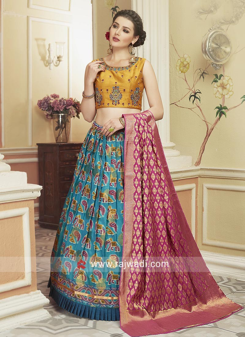 Wedding Patola Silk Printed Lehenga