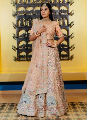 Wedding Peach Color Net Lehenga Choli