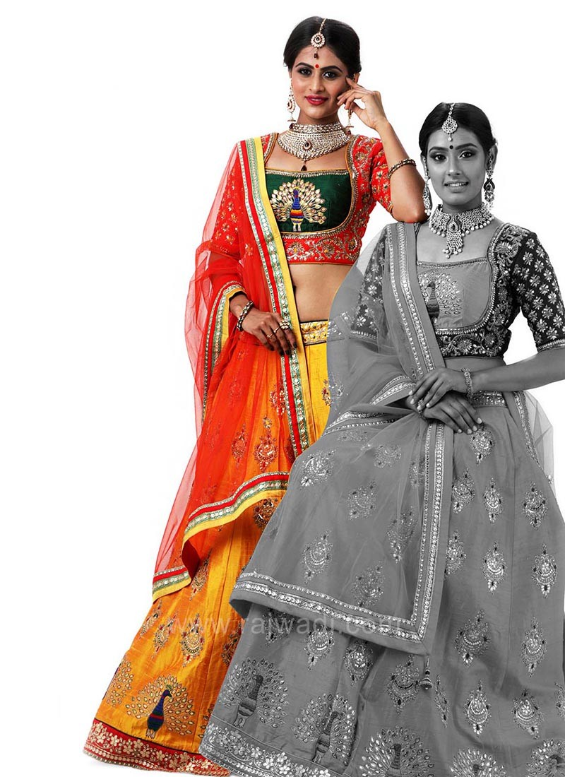 Wedding Peacock Embroidered Choli Suit