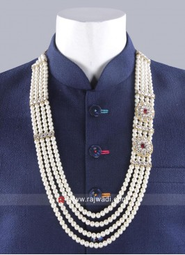 Wedding Pearl Mala With Side Broach