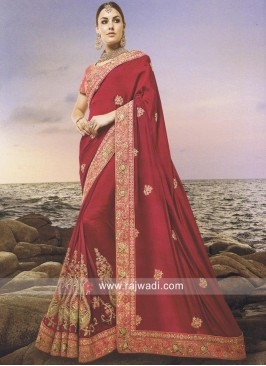 Wedding Pita and Stone Work Saree