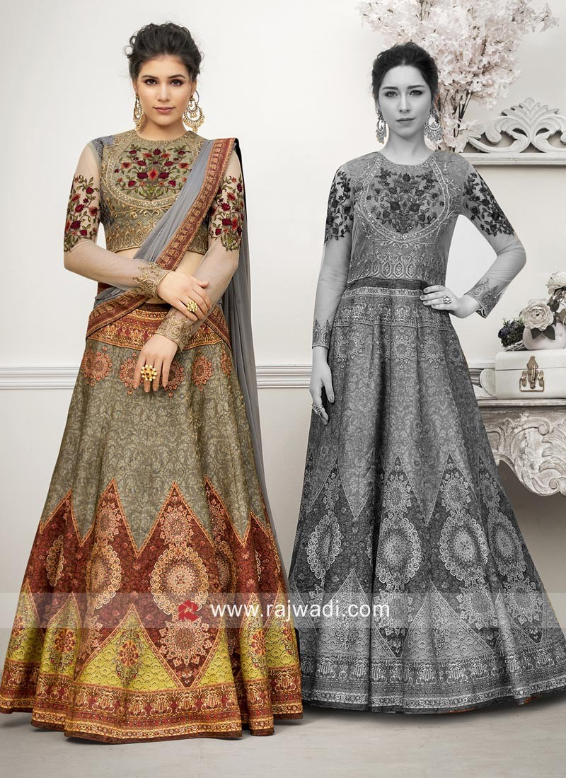 Wedding Printed Banarasi Silk Lehenga Set