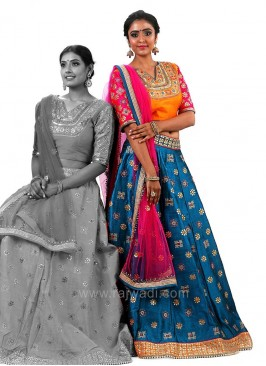 Wedding Raw Silk Choli Suit with Shaded Dupatta