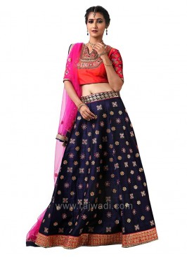 Wedding Raw Silk Embroidered Choli Suit