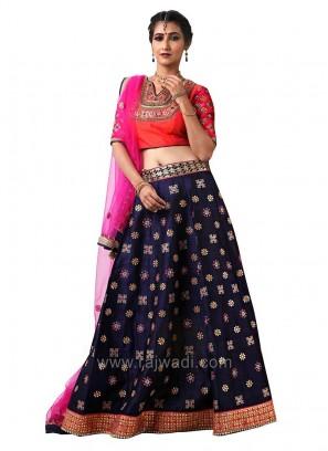 Wedding Raw Silk Embroidered Choli Suit