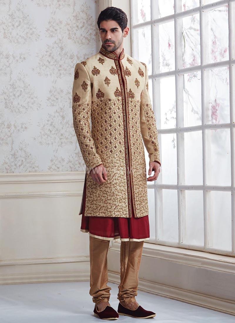 Wedding Raw Silk Layered Indo Western Sherwani