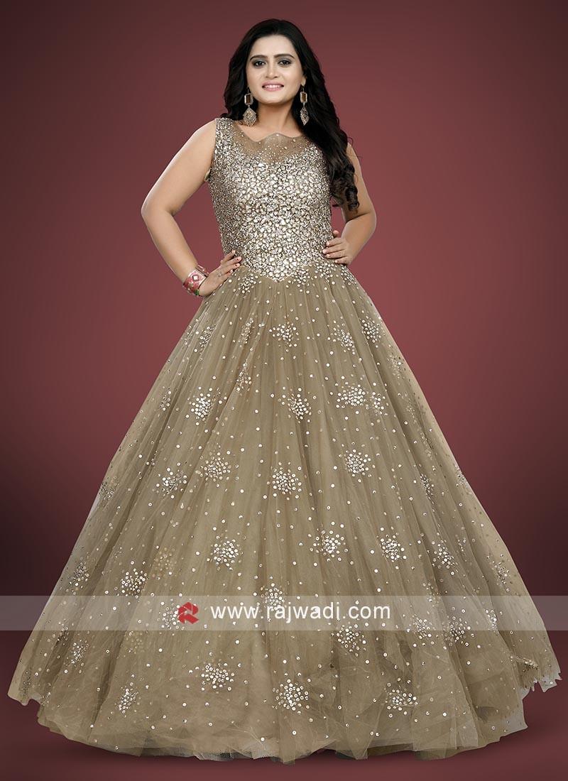Wedding Reception Diamond Work Gown