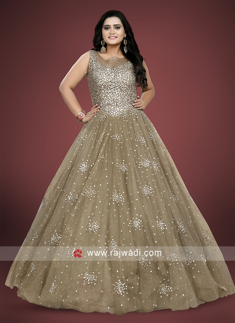 Wedding Reception Diamond Work Gown